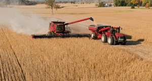 combine on soybean field
